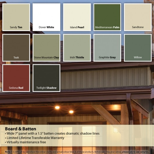 Siding Colour Chart – Board and Batten